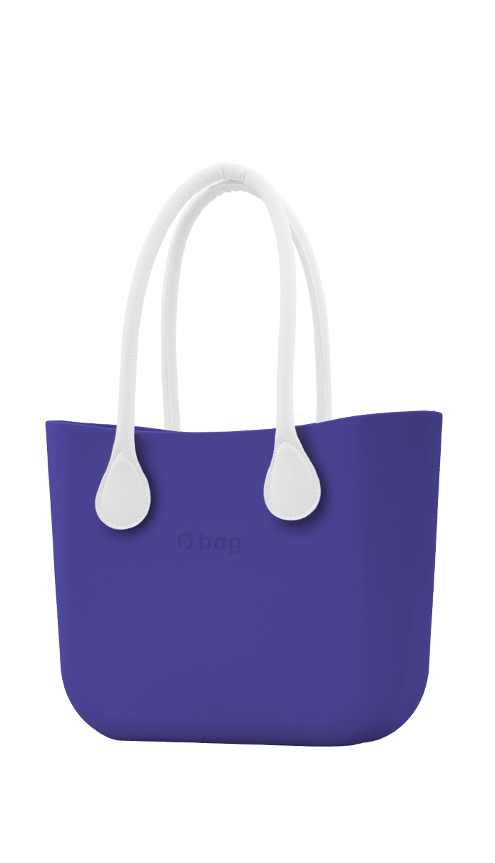 O bag  blue handbag Iris with long white leatherette straps
