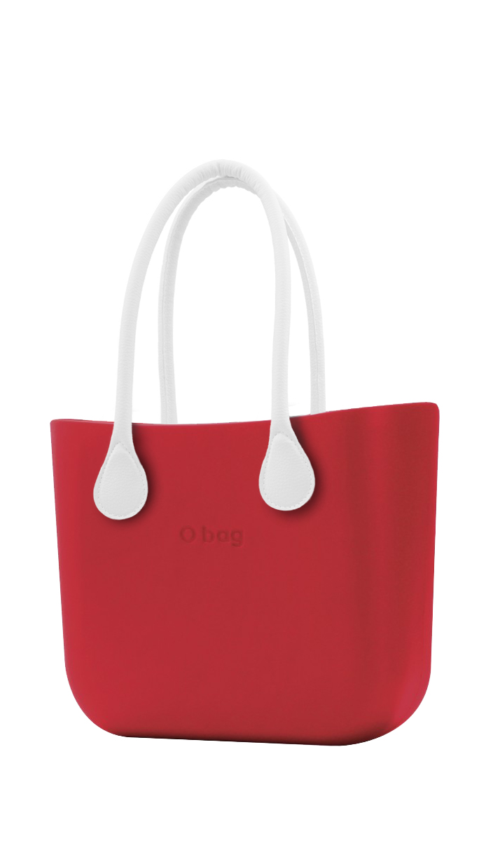 O bag  red handbag Ciliegia with long white leatherette straps