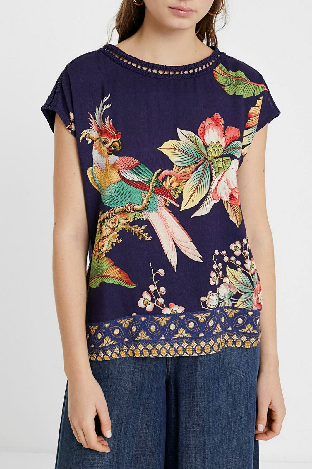 Desigual blue women´s T-shirt Hanna with colourful logo with cutouts