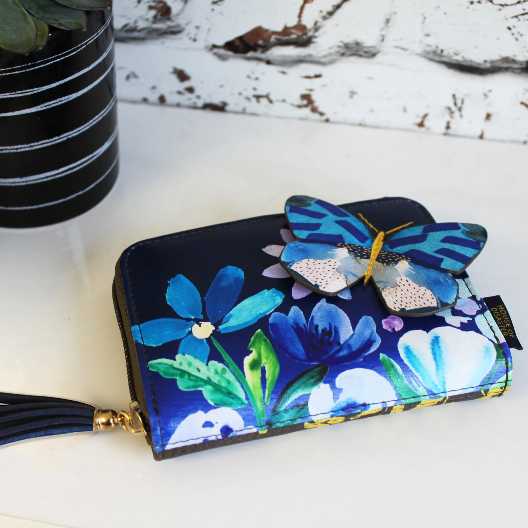 Disaster blue wallet Papillon Purse