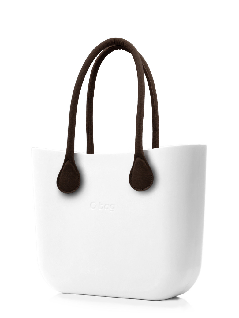 O bag  white handbag Bianco with long brown leatherette straps