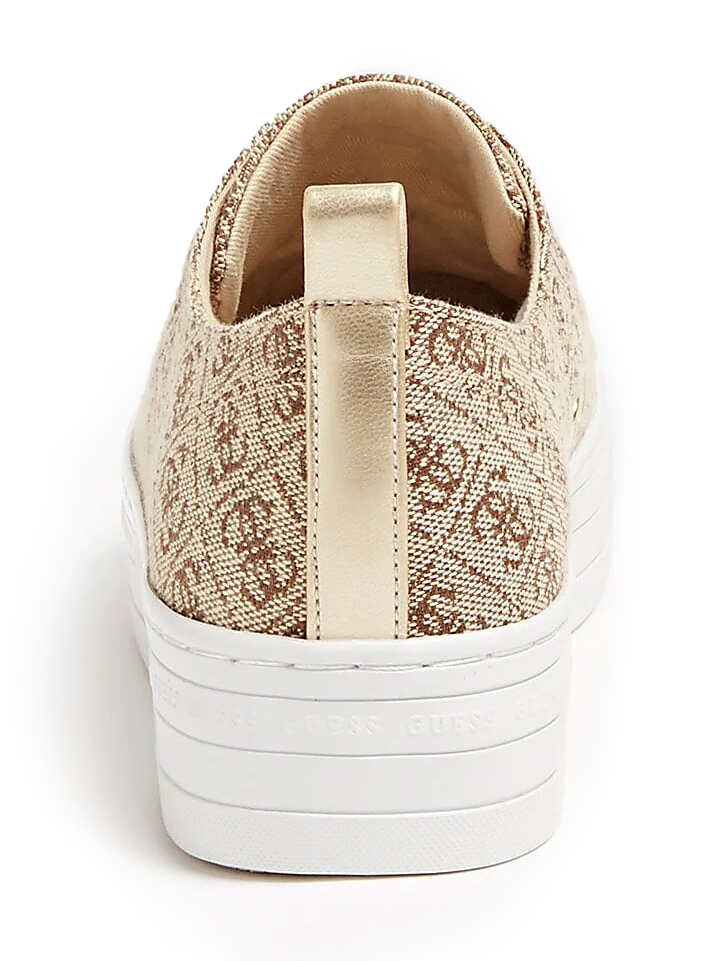 Guess beige sneakers with platform Brigs All-Over Logo