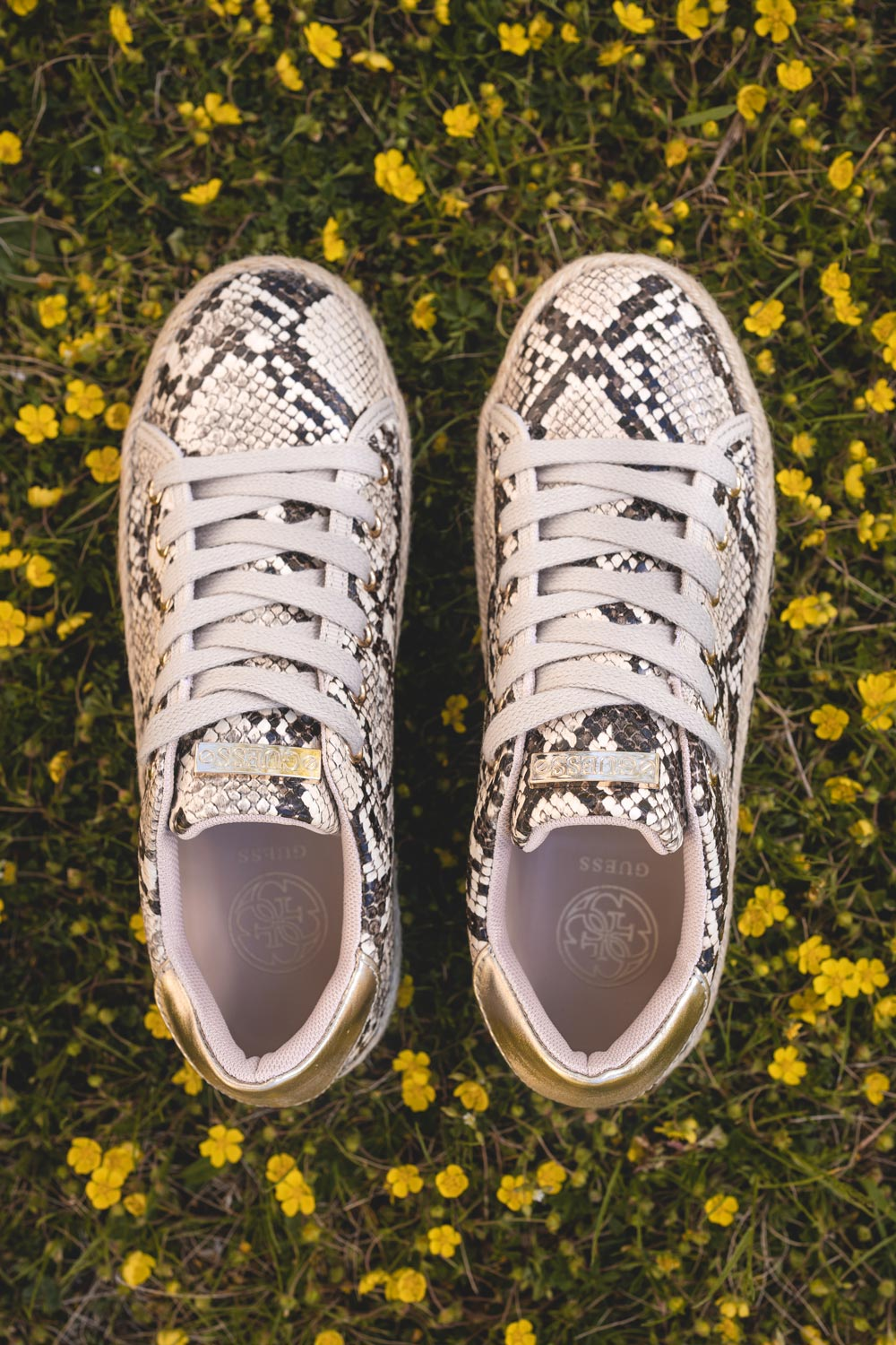 Guess jute sneakers on a snake skin