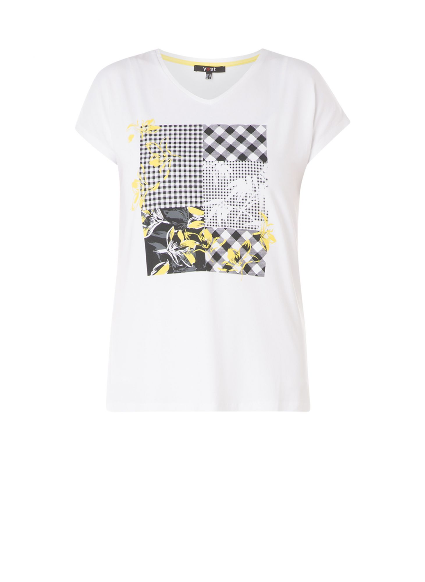 Yesta white women´s T-shirt with colorful motifs