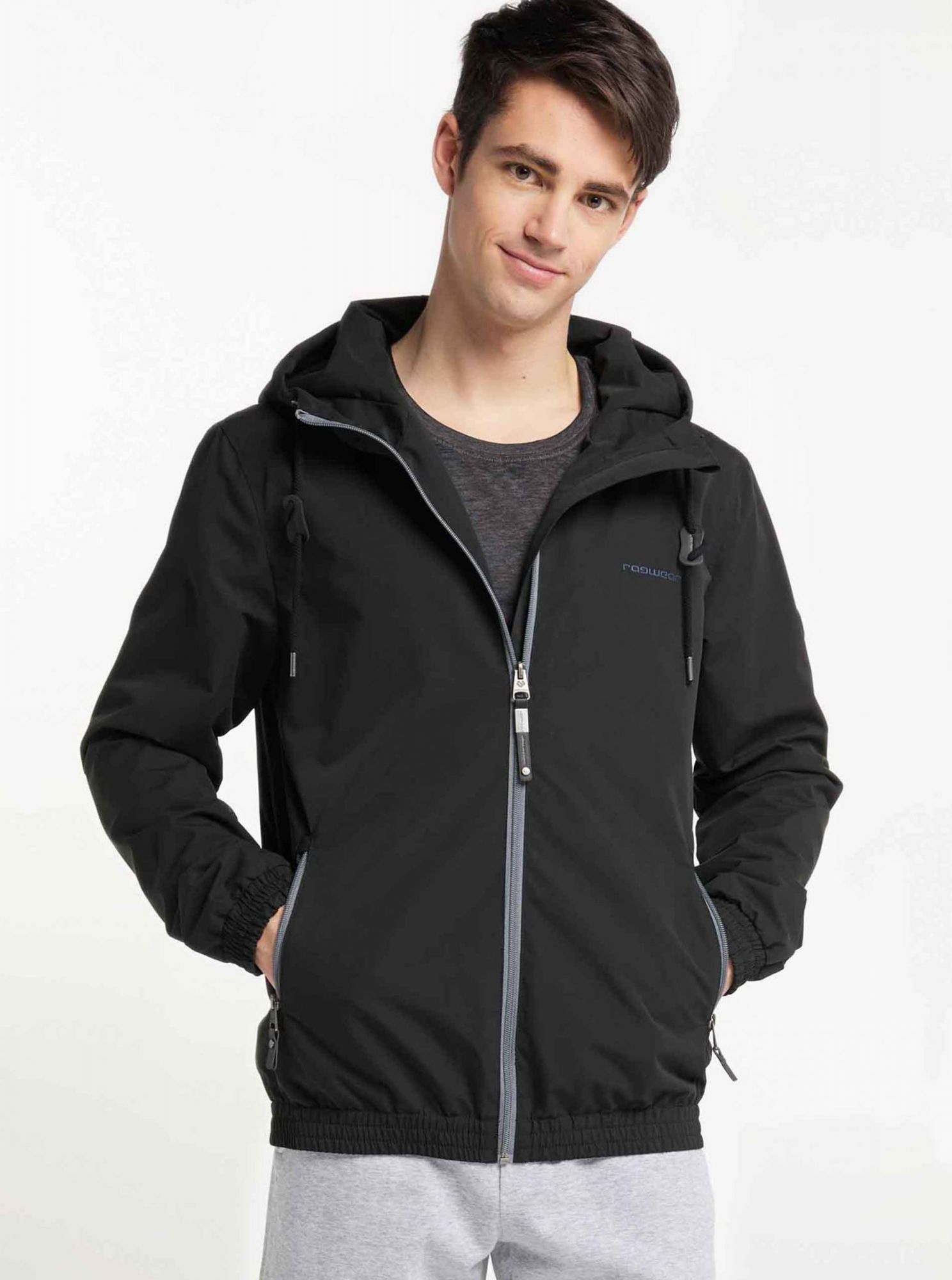 Black men's functional light jacket Ragwear Olsen
