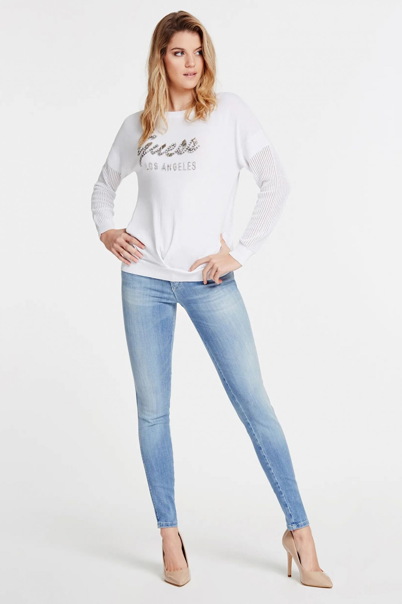 Guess white sweater Front Logo Blend