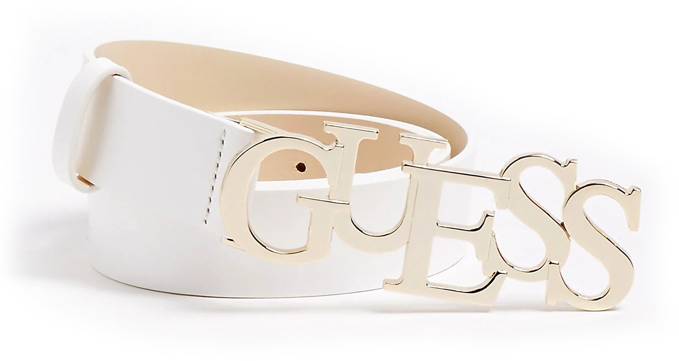 Guess white leather belt Logo Buckle