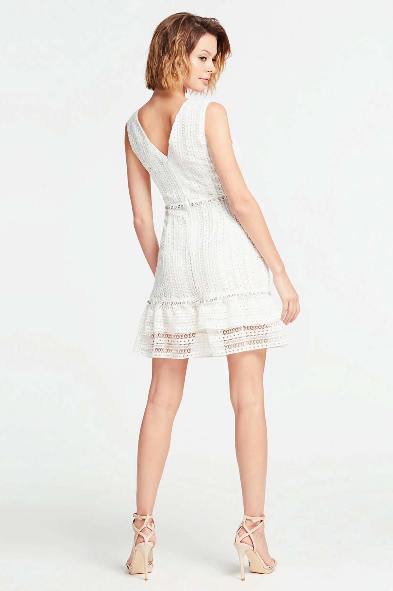 Guess white dress with lace