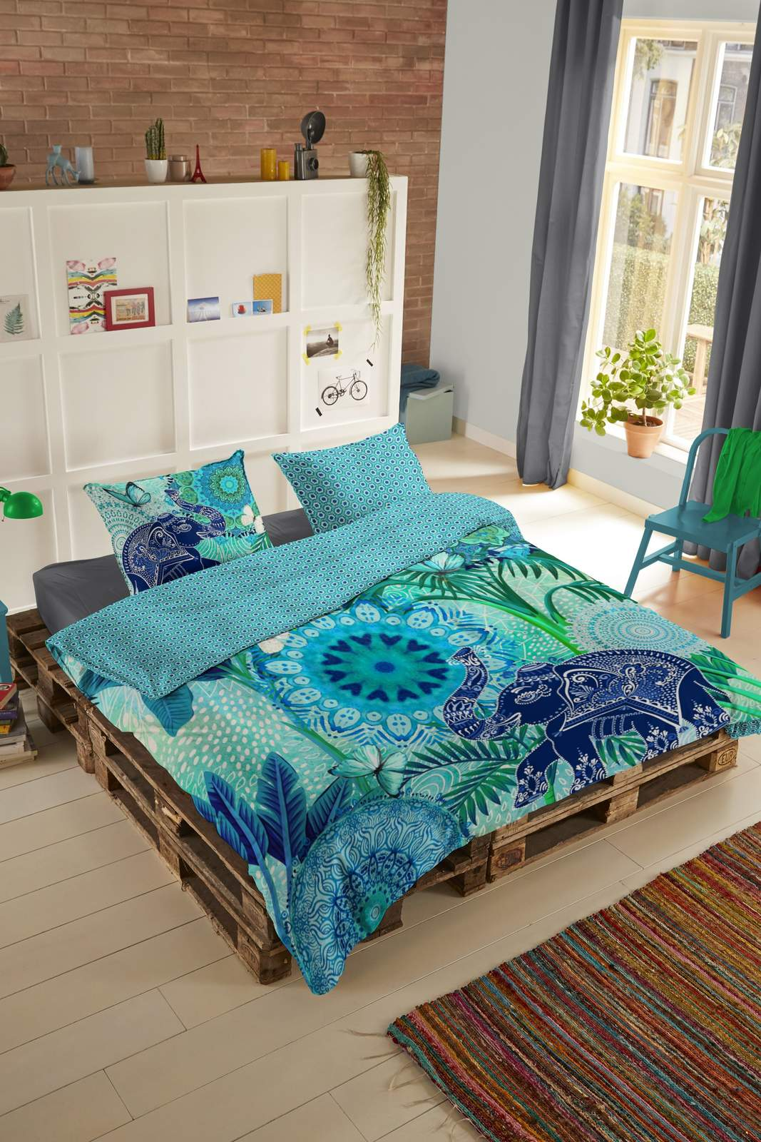 Home blue double-sided single bed bed linen Hip Isara 140x200cm