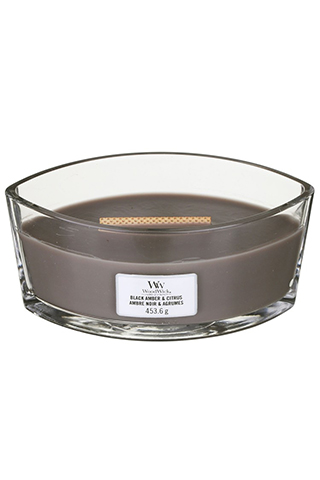 WoodWick fragrant candle Black Amber & Citrus ship