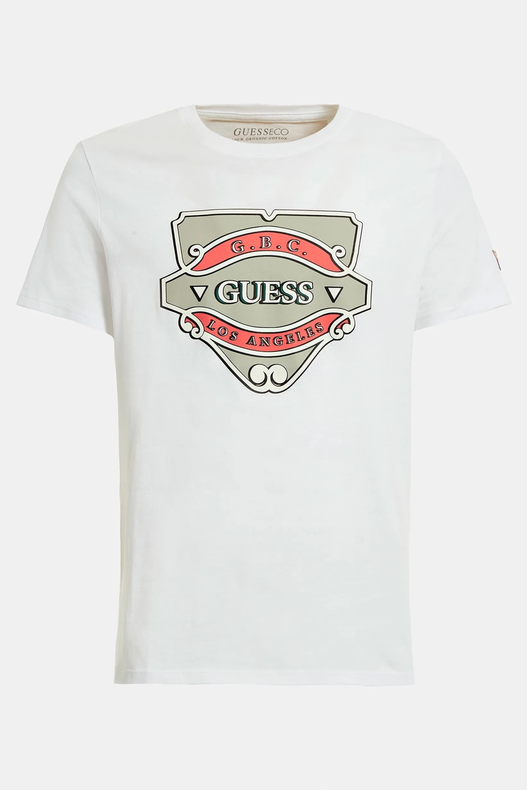 Guess white men´s t-shirt Stampa Piazzata