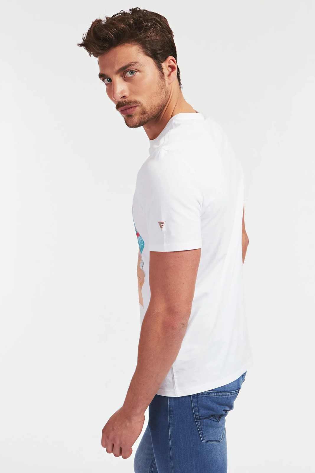 Guess white men´s t-shirt Mare Stampa Piazzata