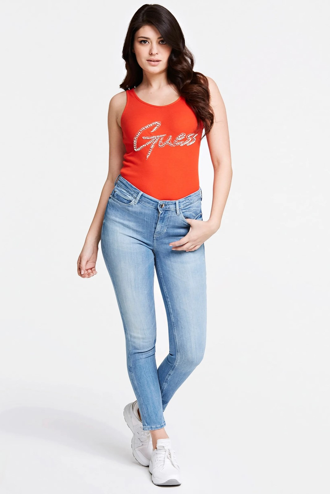 Guess red top Front Logo Tank Top