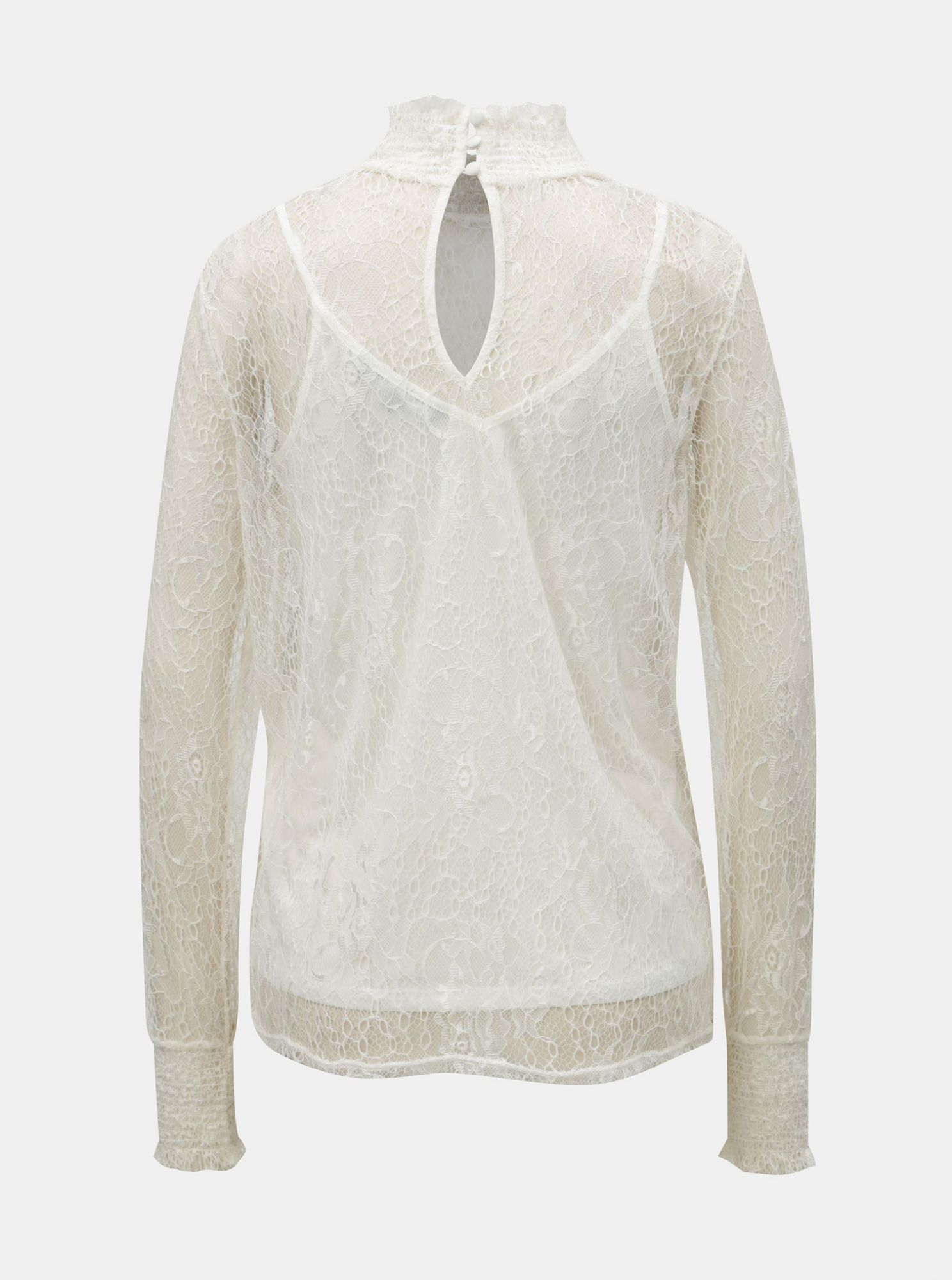 Cream lace blouse with stand-up collar VERO MODA Edith