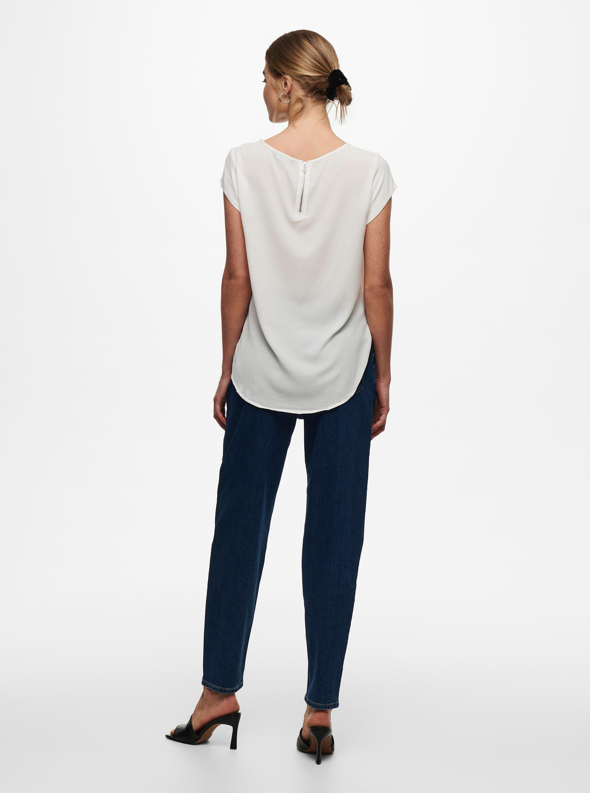 White blouse with zipper in the back of ONLY Vic
