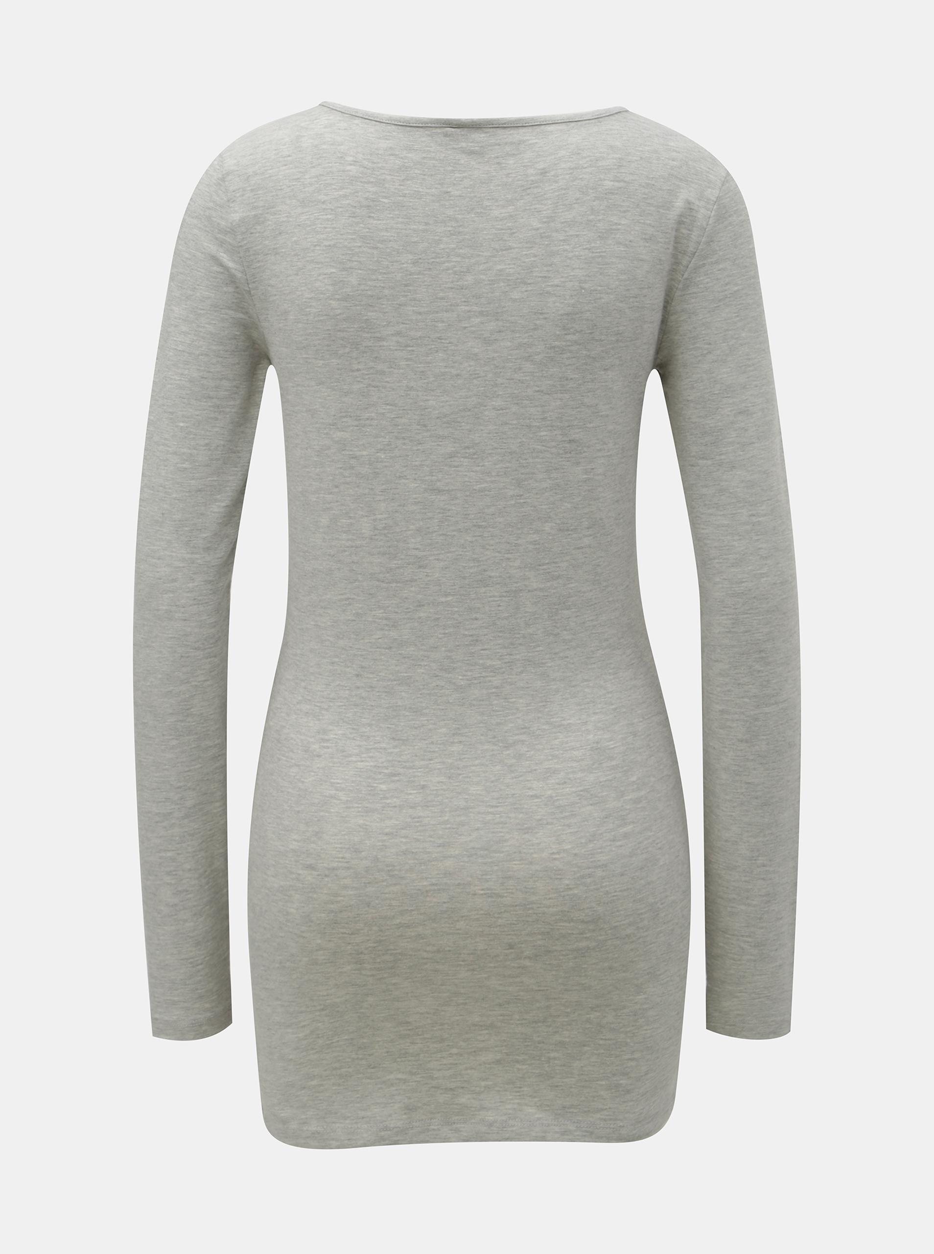Gray brindle basic long-sleeved T-shirt VERO MODA Maxi