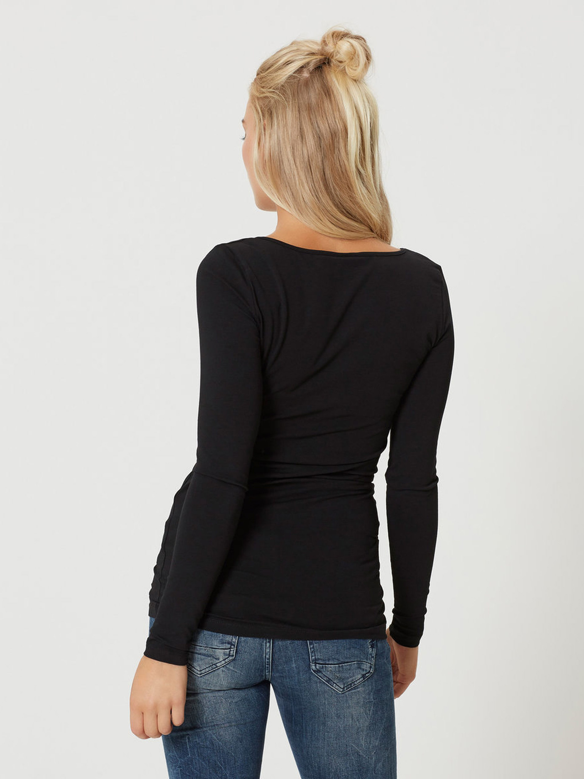 Black long basic t-shirt with long sleeves VERO MODA Maxi My