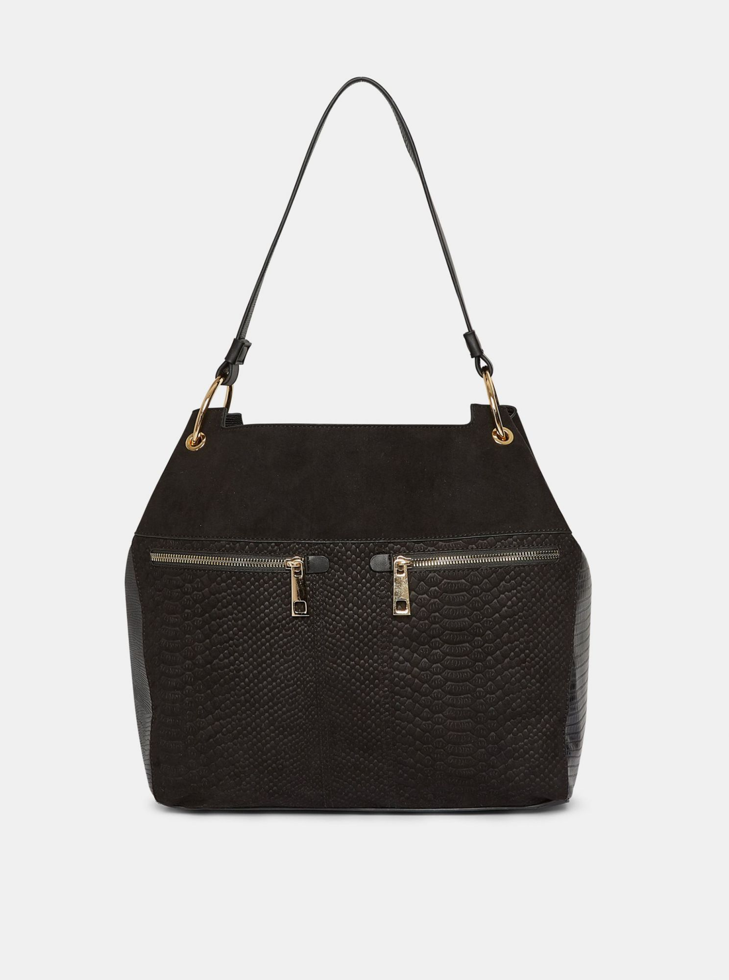 Black handbag in suede with a snake pattern by Dorothy Perkins