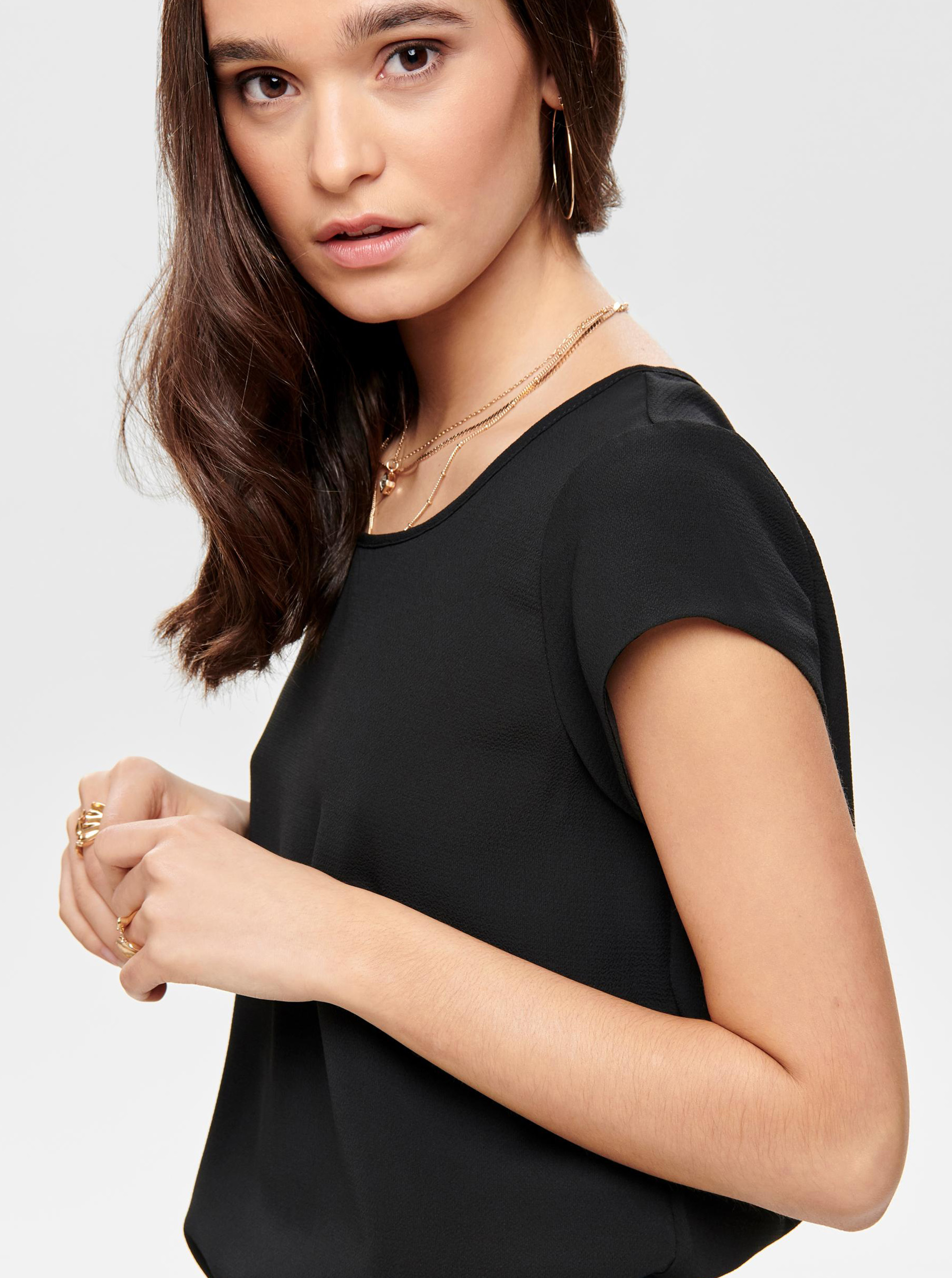Black blouse with zipper in the back of ONLY Vic