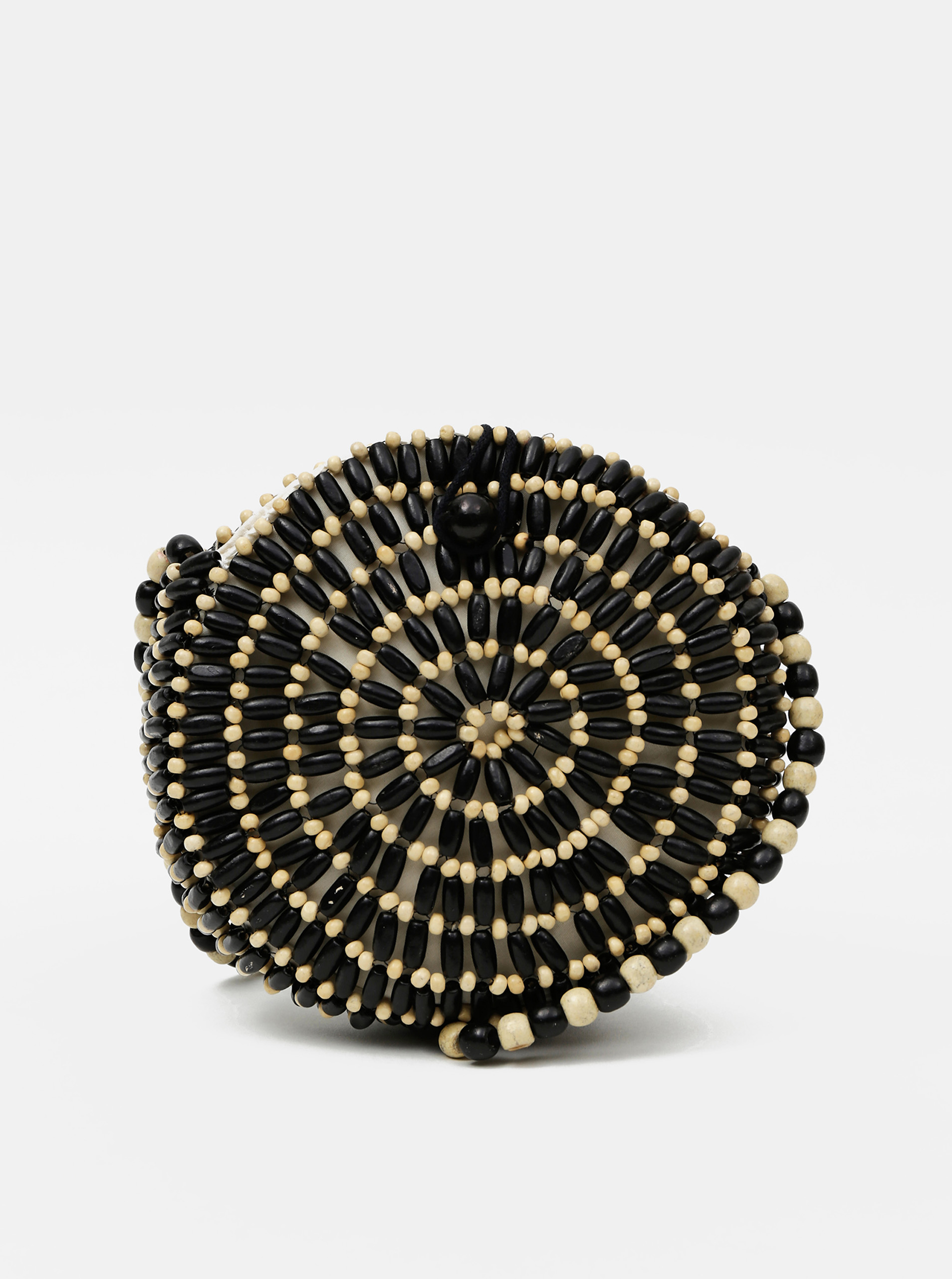 Black-beige wooden crossbody handbag Pieces Nea