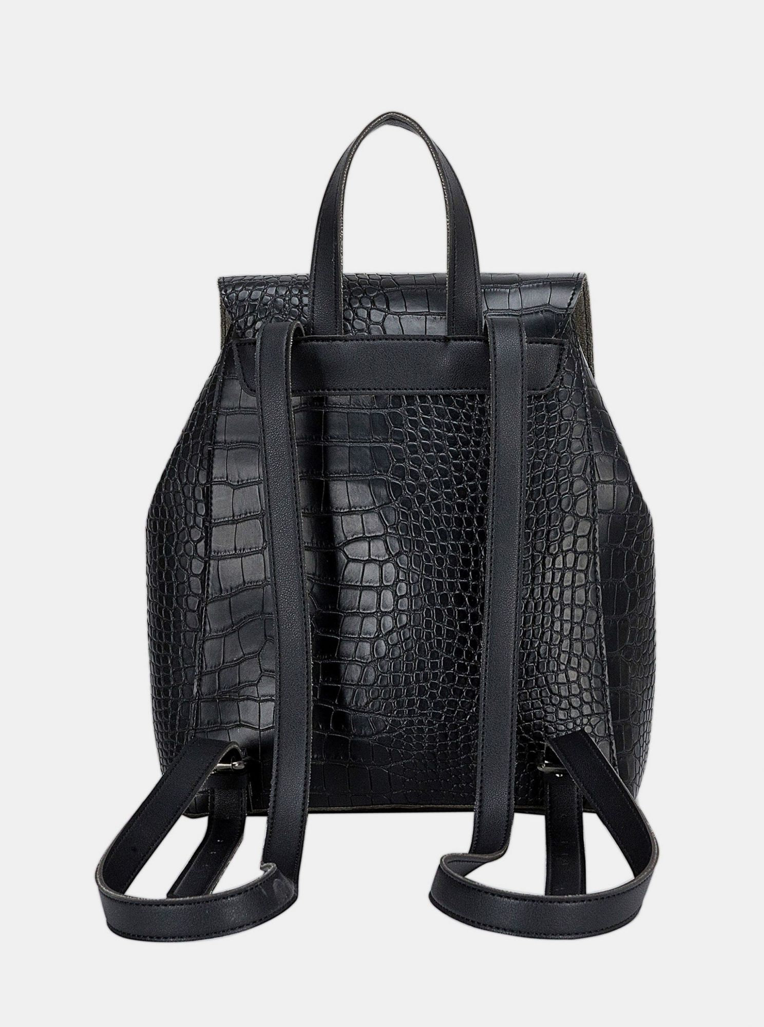 Black backpack with crocodile pattern by Claudia Canova Beth