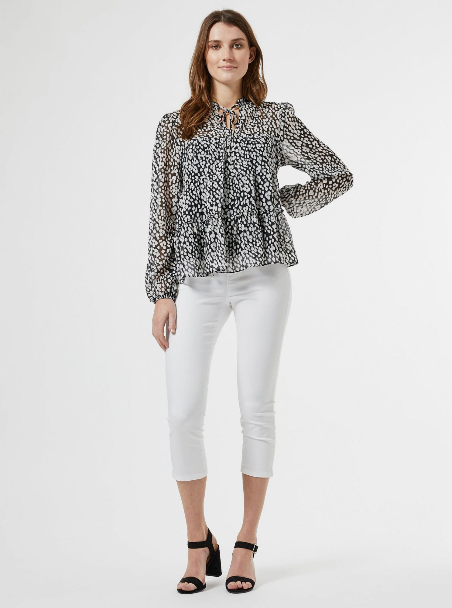 White and black patterned blouse Dorothy Perkins