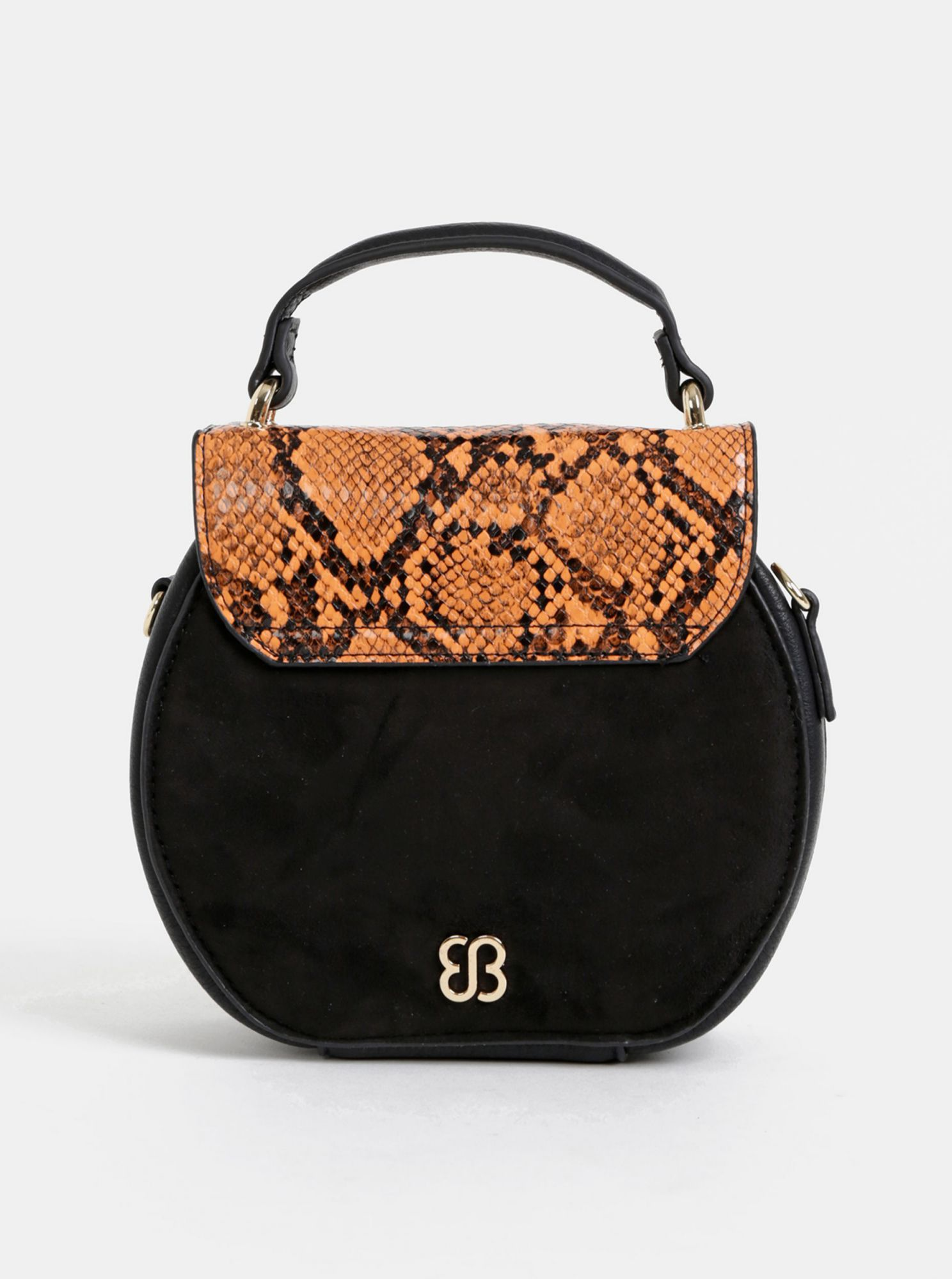Black crossbody handbag in suede finish with snake pattern Bessie London