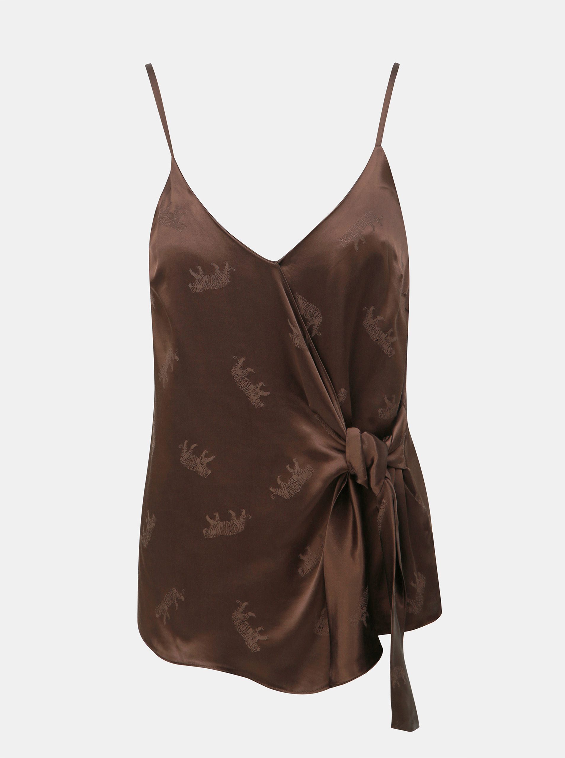 Brown patterned top with Dorothy Perkins binding