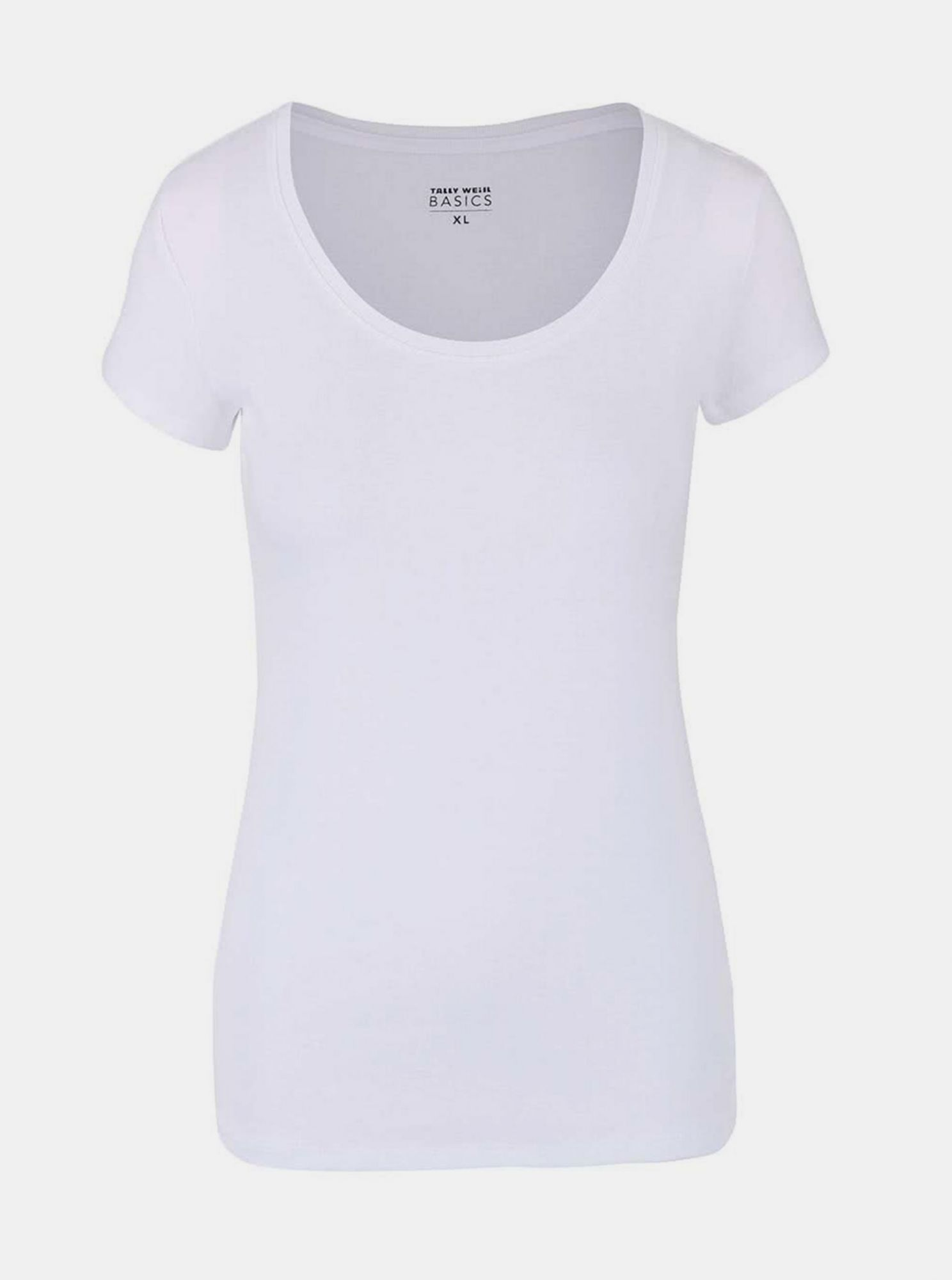 White basic T-shirt with a round neckline TALLY WEiJL Tadalo
