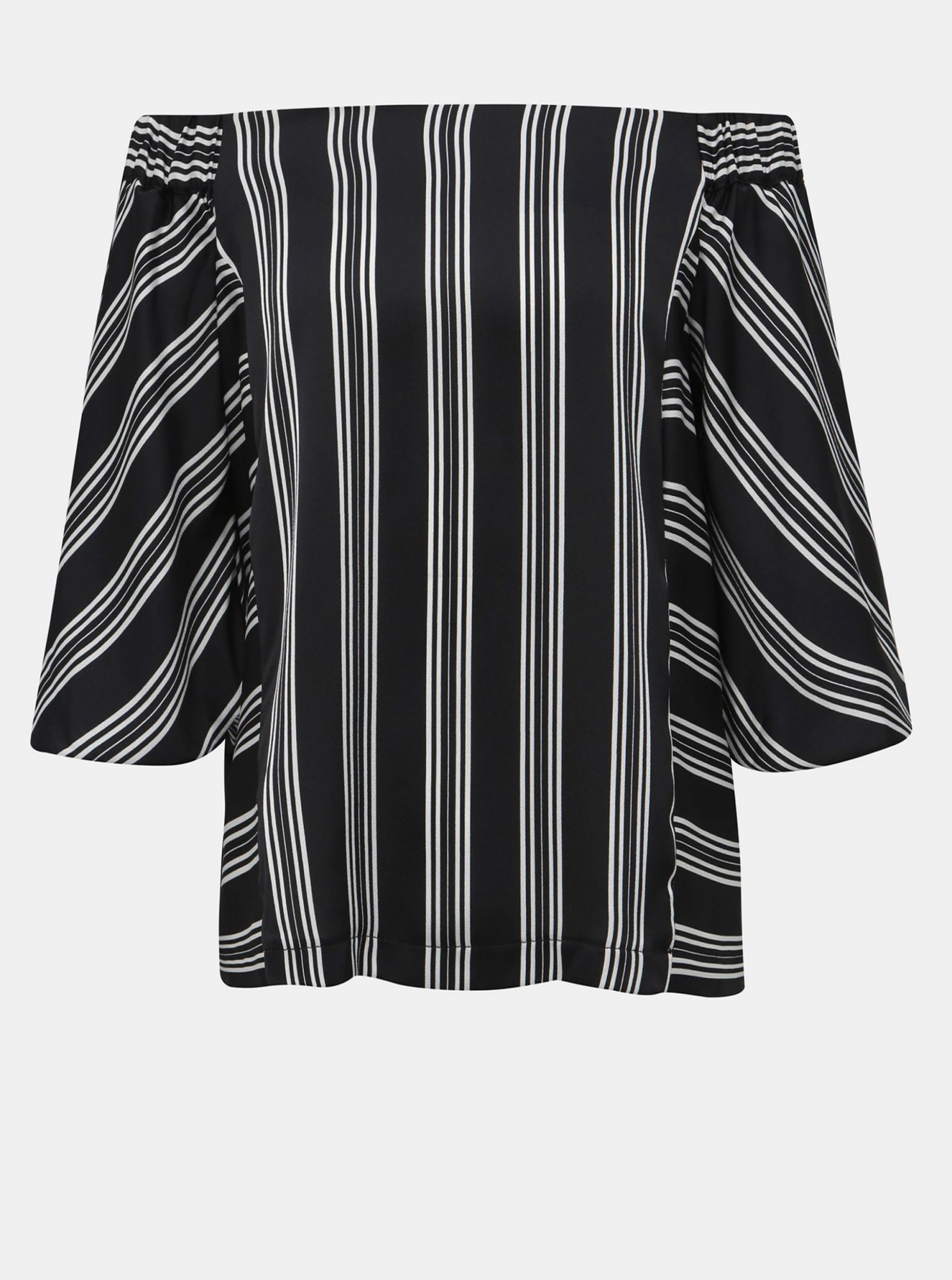 Black striped blouse with bare shoulders Dorothy Perkins