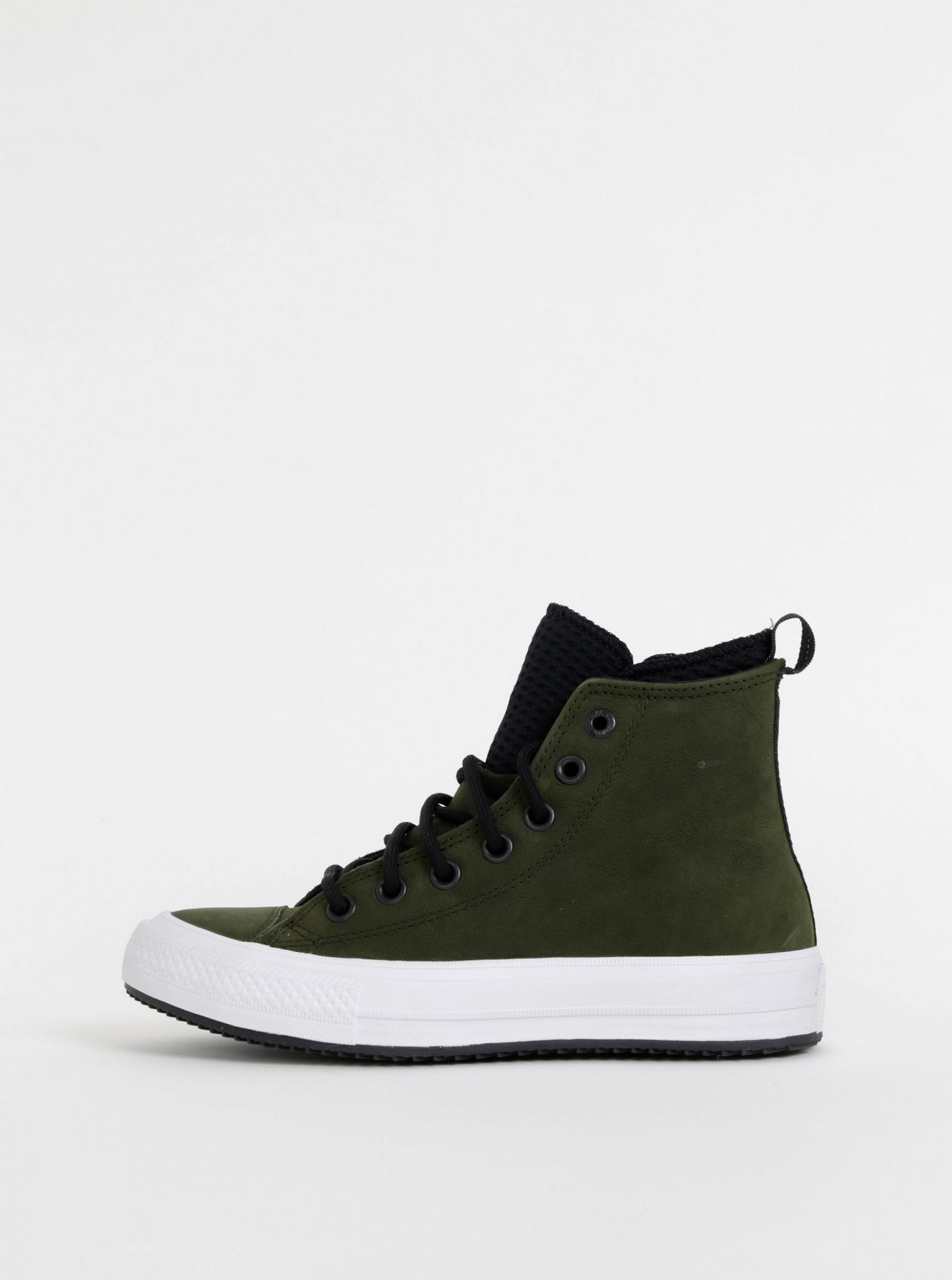 Dark green leather ankle sneakers