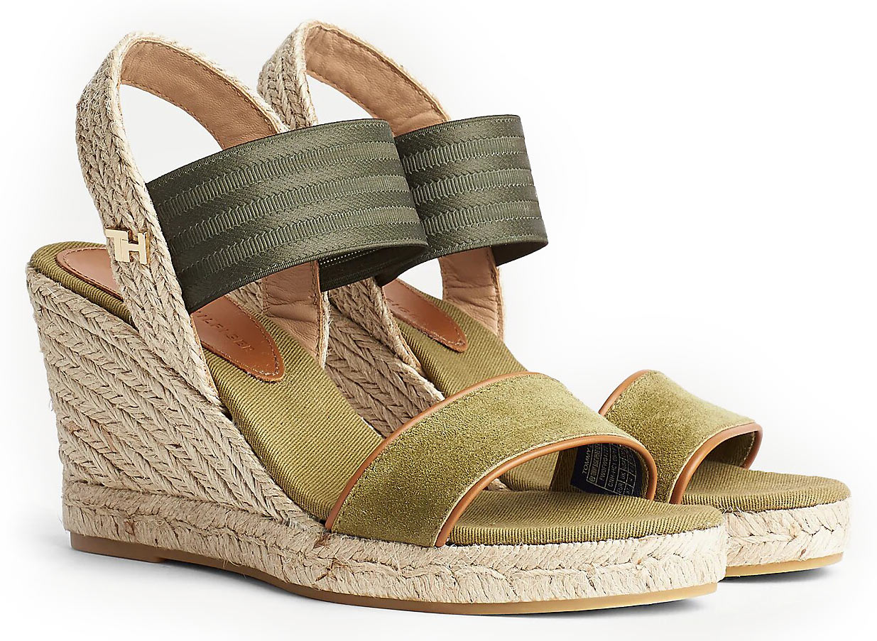 Tommy Hilfiger khaki shoes on a wedge Suede Monogram Wedges