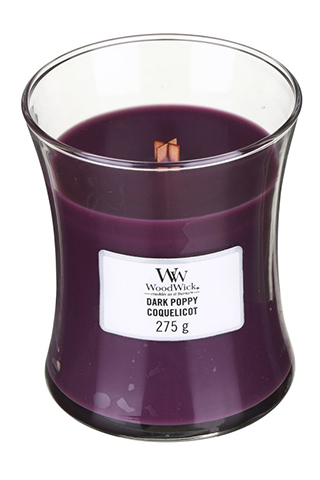 WoodWick purple fragrant candle Dark Poppy medium vase