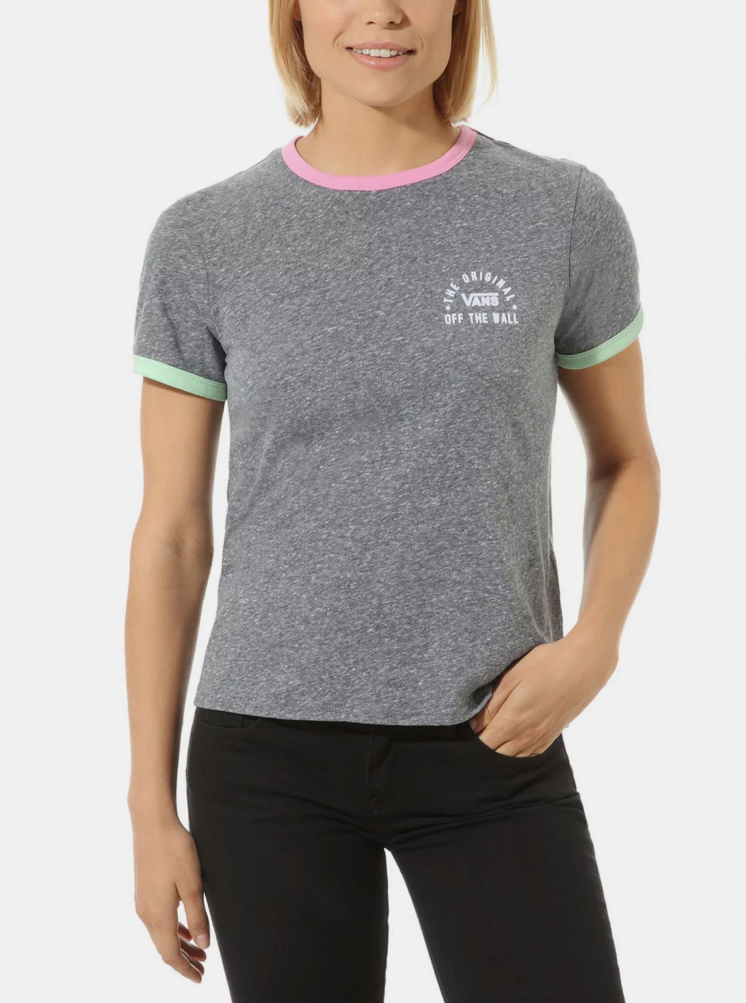 Vans grey women´s T-shirt with colorful motifs