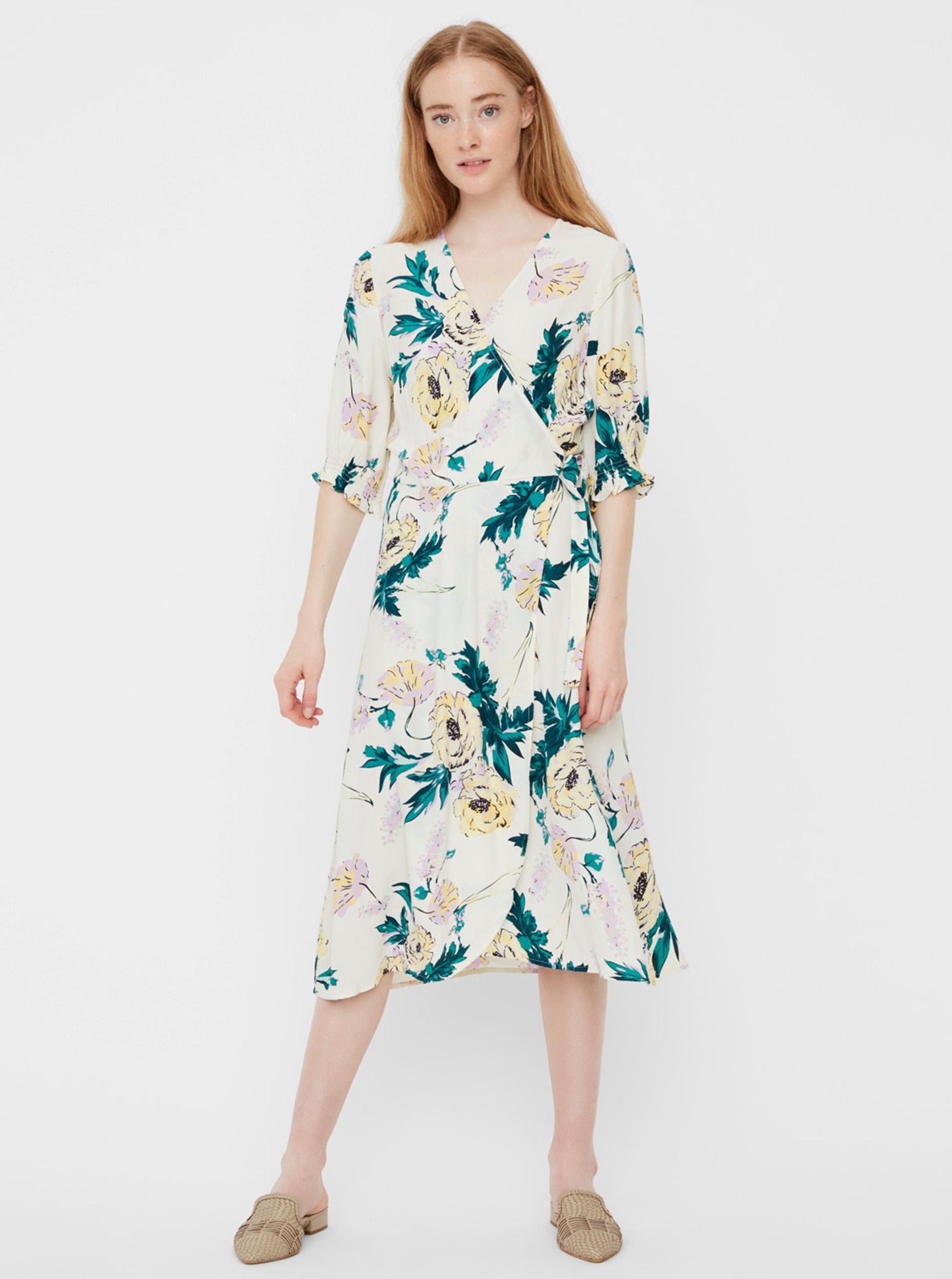 Creamy floral wrap midi dress VERO MODA Oline