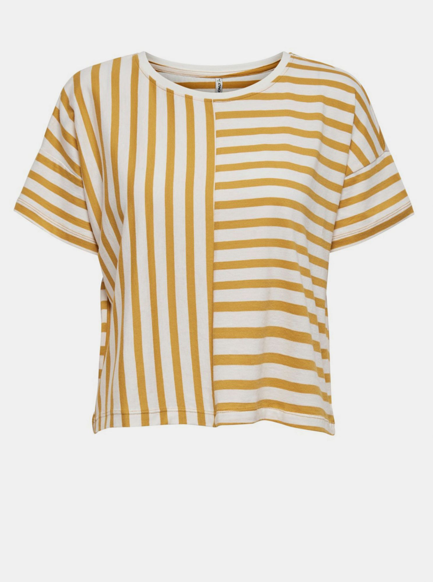 White-yellow striped loose T-shirt ONLY Marie
