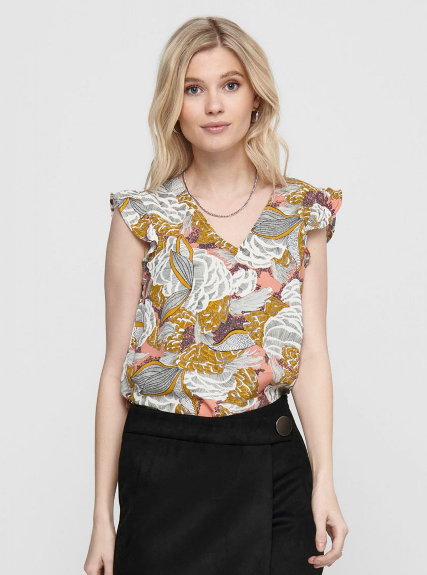 Brown flowered blouse ONLY Beatrice