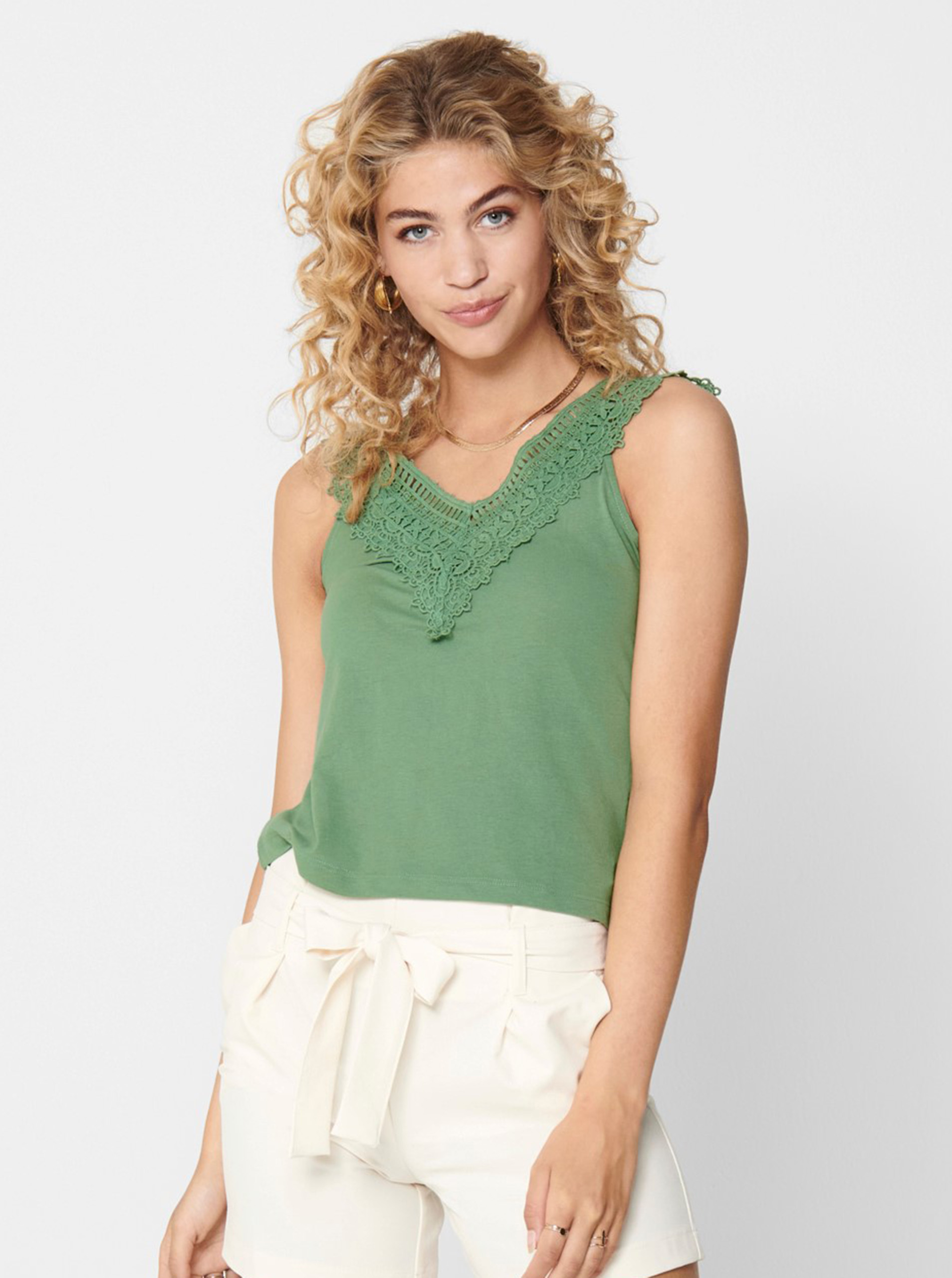 Green top with lace ONLY Victoria