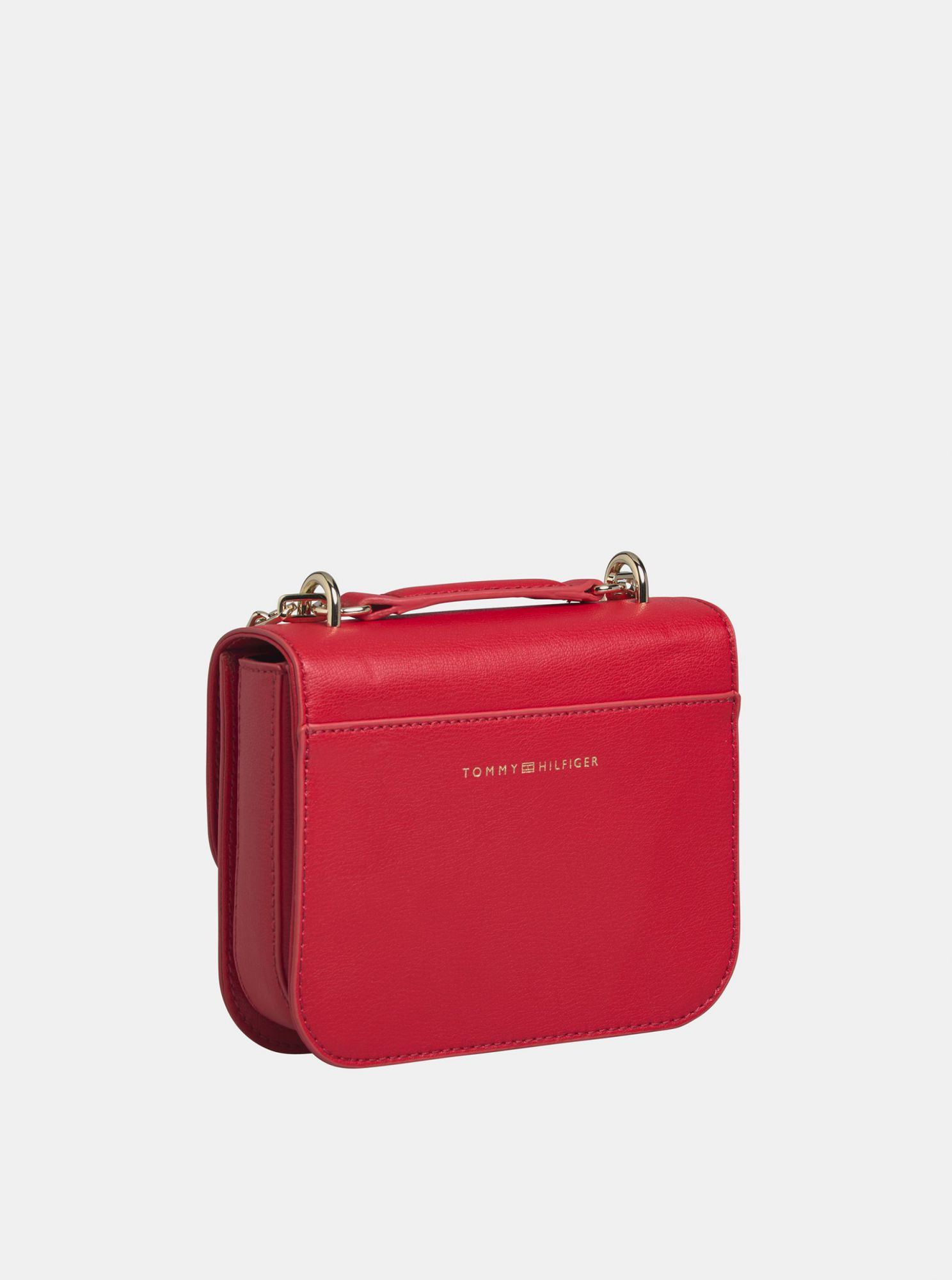 Red leather crossbody handbag by Tommy Hilfiger