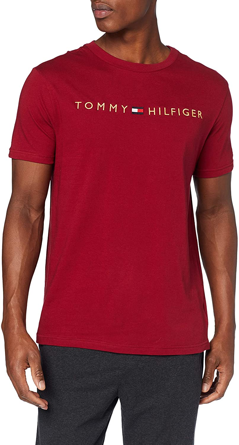 Tommy Hilfiger wine / bordo men´s t-shirt CN SS Tee Logo Gold with embroidery