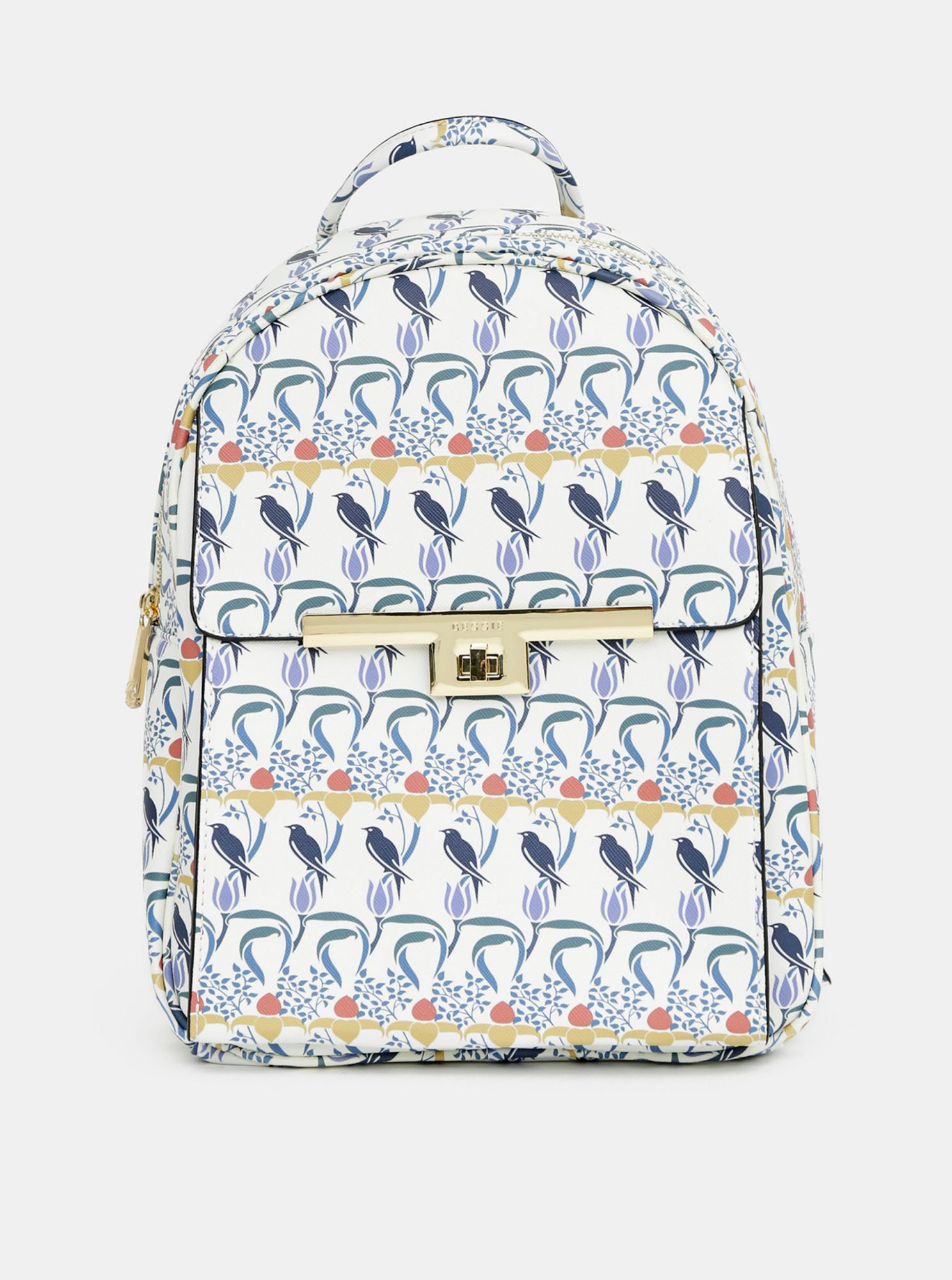 Blue and white patterned backpack Bessie London