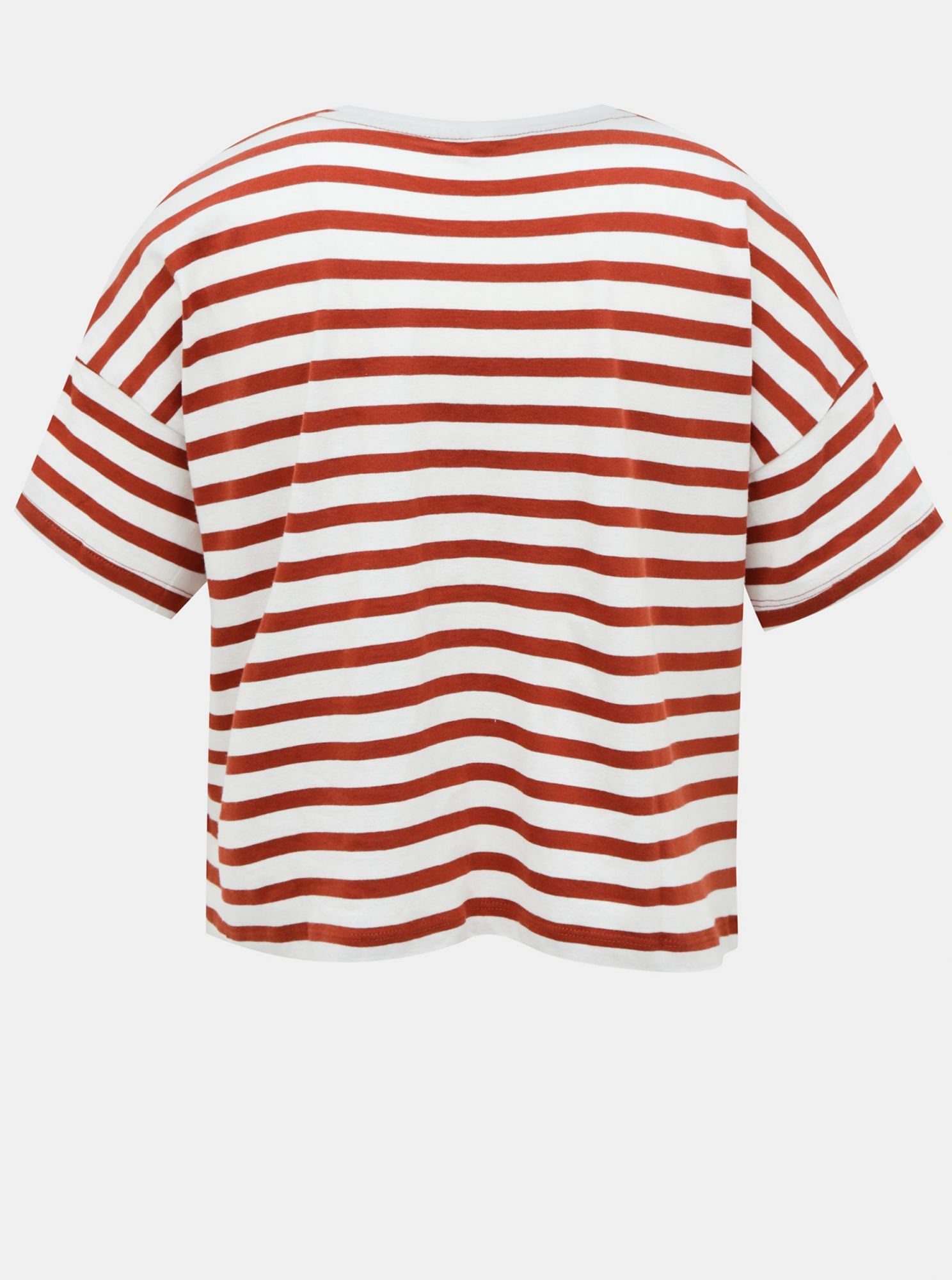 White-brown striped loose T-shirt ONLY Marie