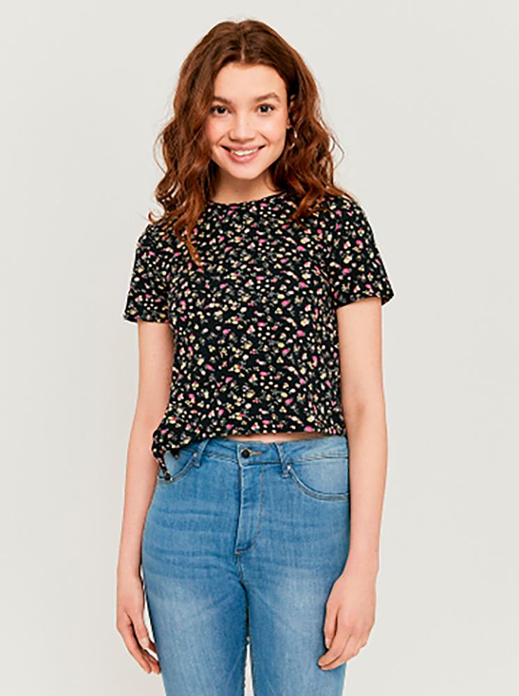 Black floral short T-shirt TALLY WEiJL