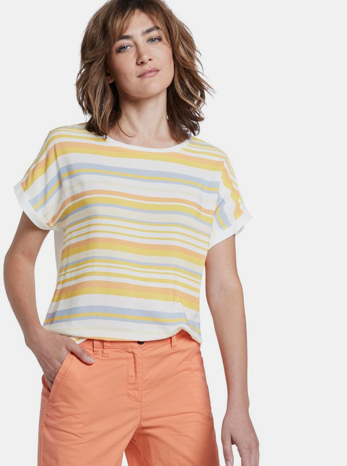 Yellow-white women's striped T-shirt Tom Tailor