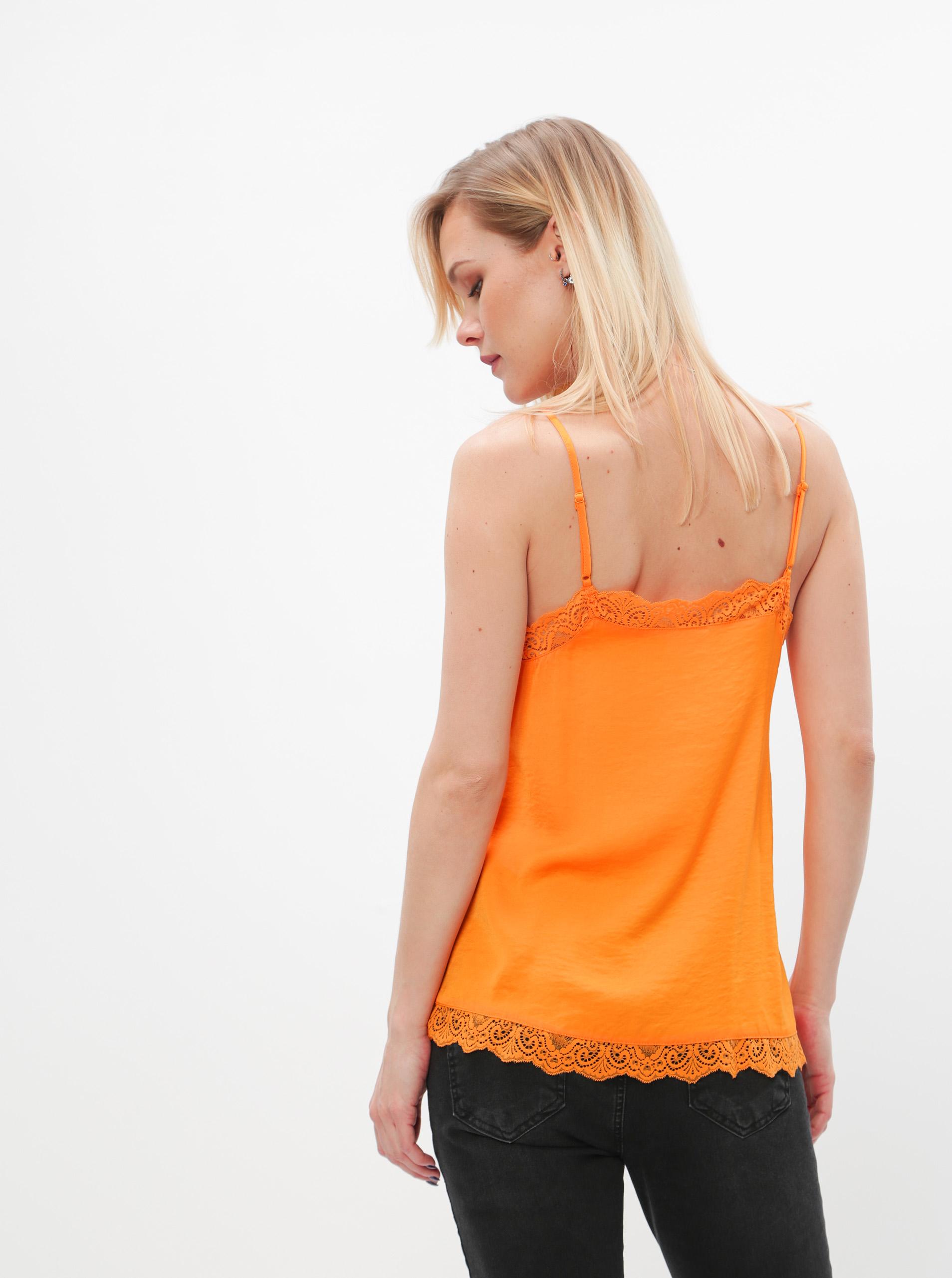 Orange top with lace VILA Ava