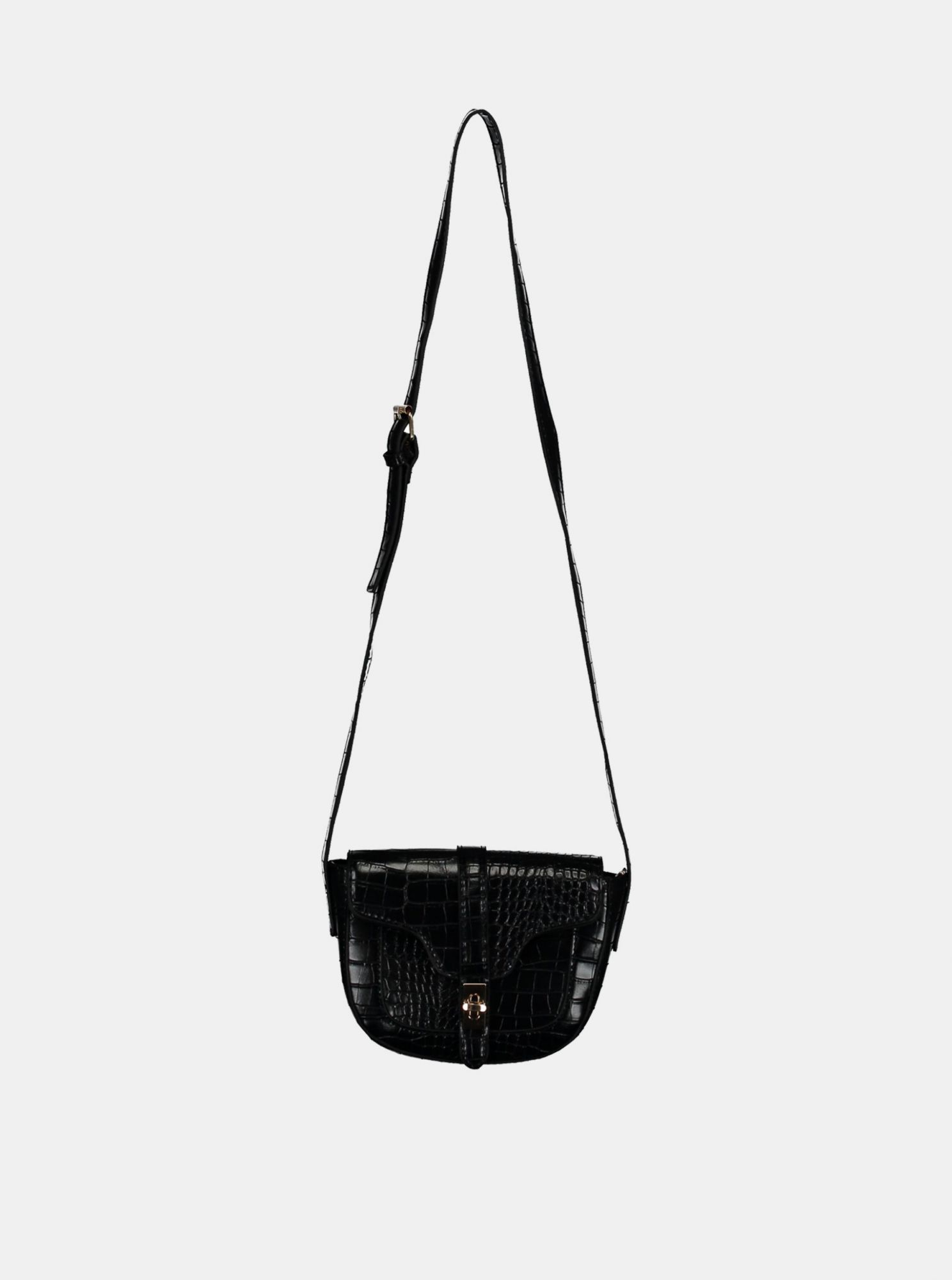 Black crossbody handbag with crocodile pattern by Haily´s Elisa