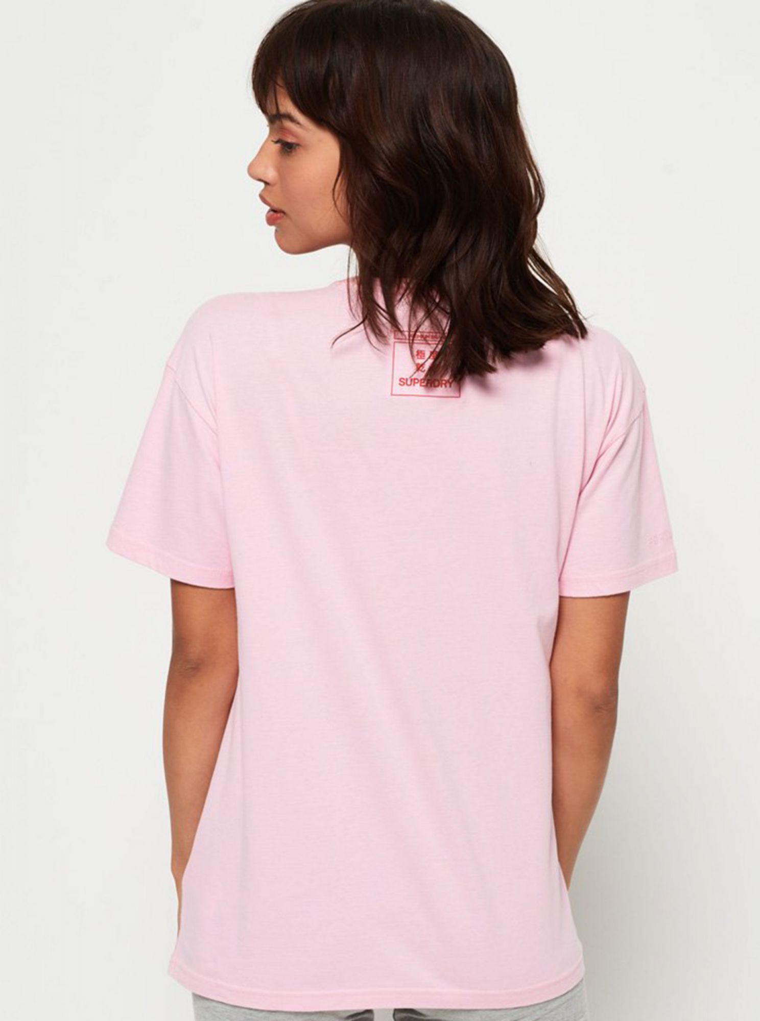 Pink women's t-shirt with Superdry print