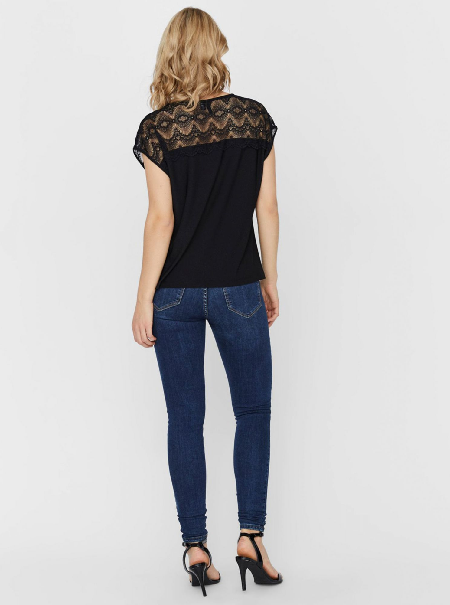 Black women's blouse with lace VERO MODA Milla