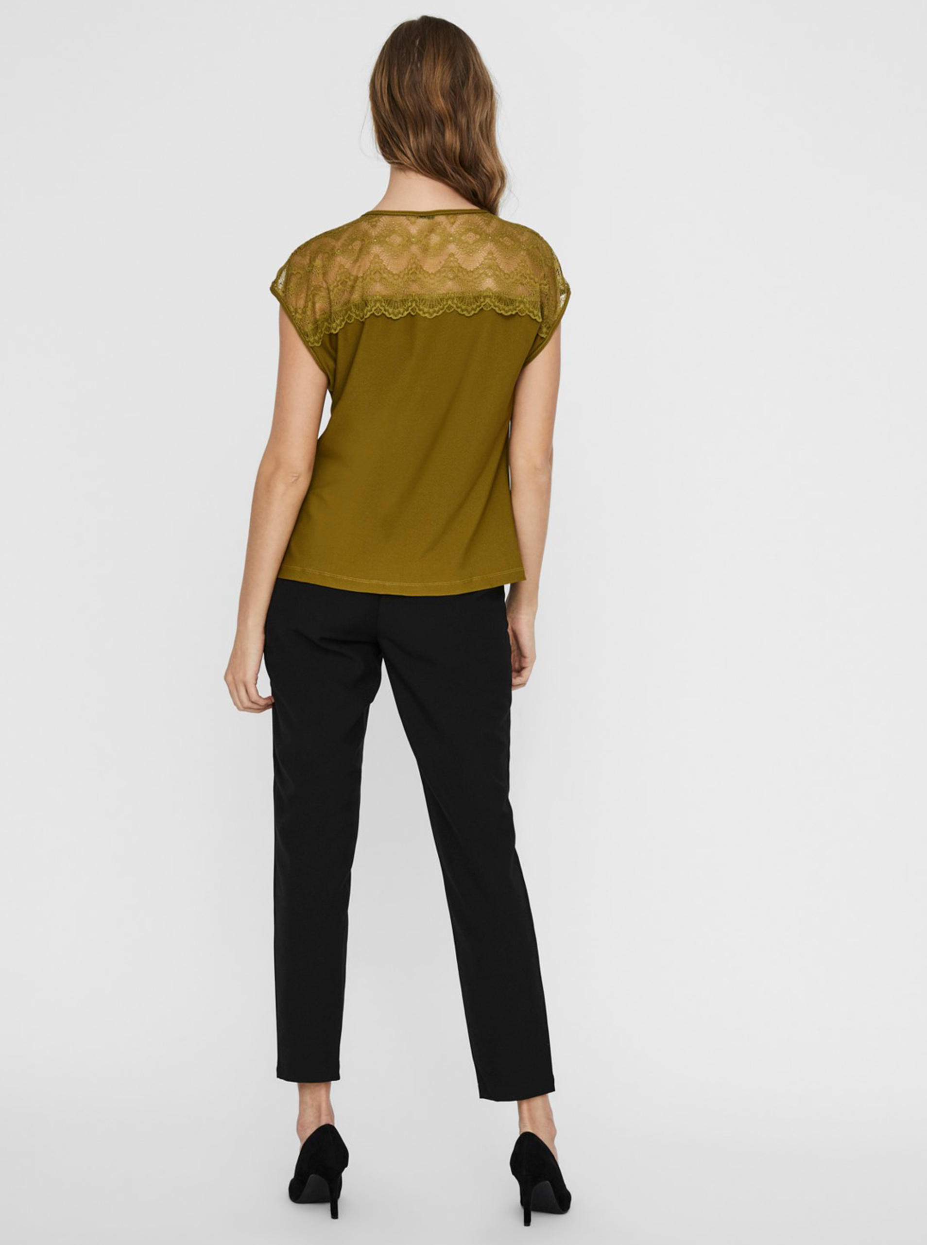 Khaki women's blouse with lace VERO MODA Milla