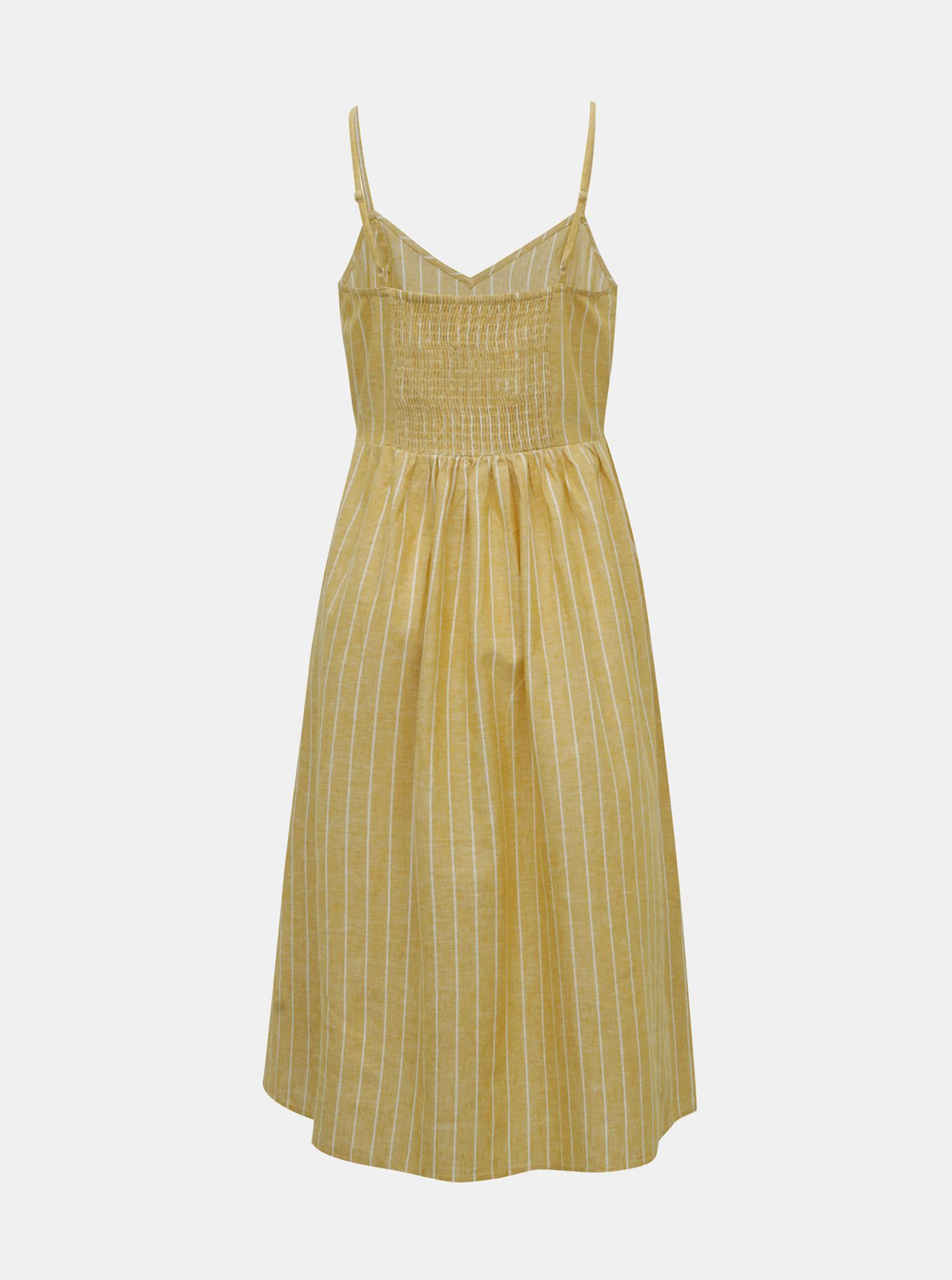 Yellow striped dress with a mixture of flax ONLY Vivian